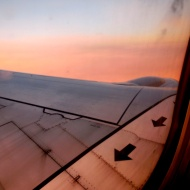 plane wing in sunset - photo by Karen Molenaar Terrell