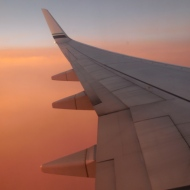Plane's wing in sunset - photo by Karen Molenaar Terrell