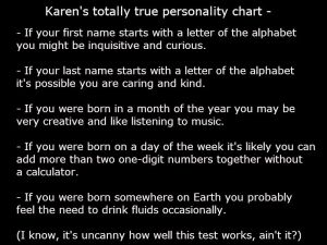 Personality chart