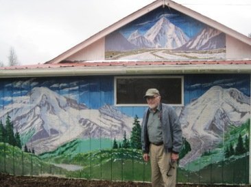 Dad in front of his mural.