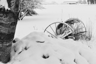 Old Farm Equipment in the Snow
