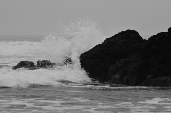 ocean wave in black and white this one