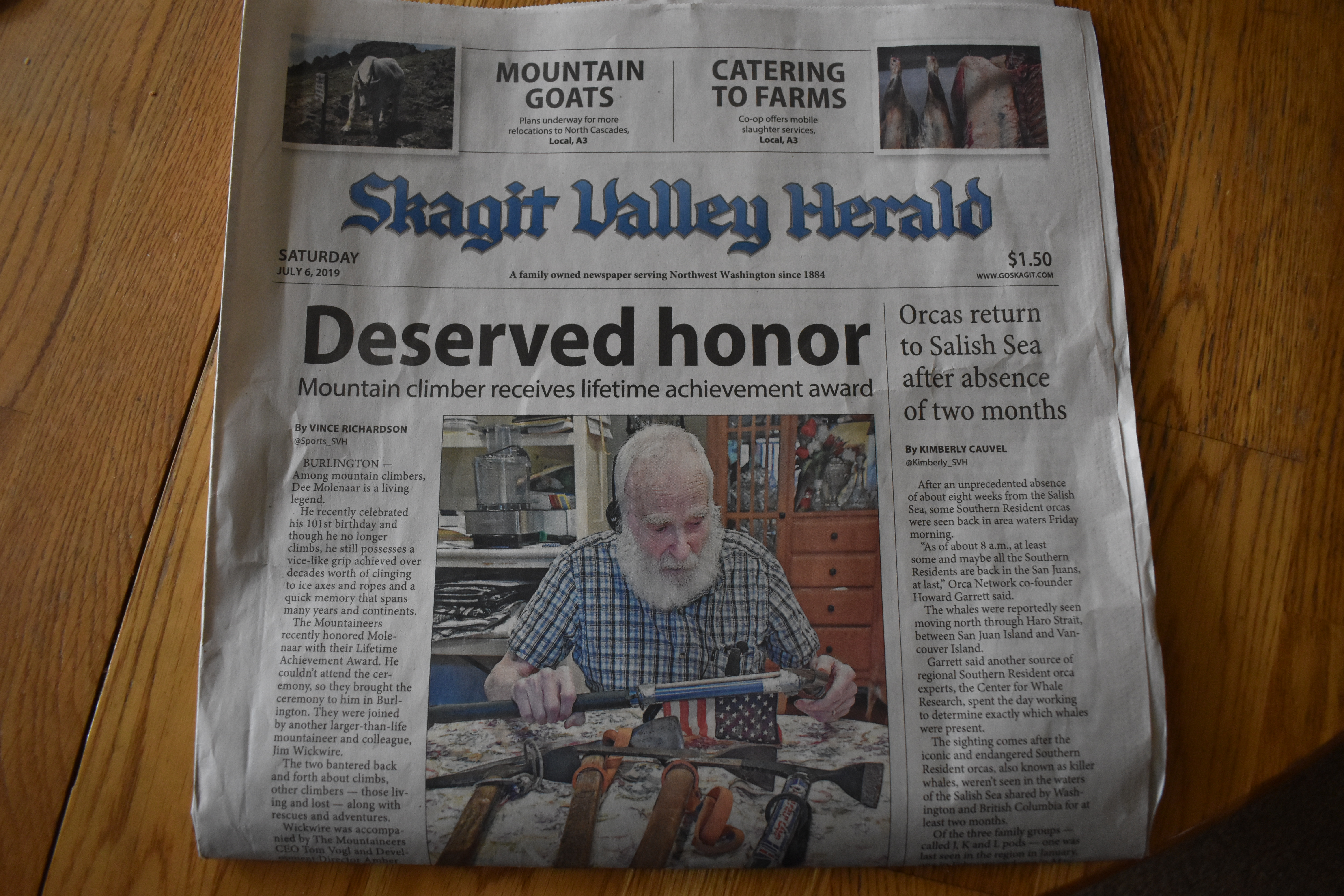 Dad on front page of svh