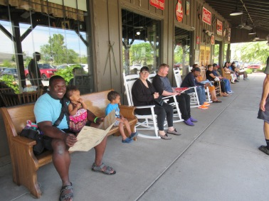 Folks in front of the Cracker Barrel in Hammond, Indiana.