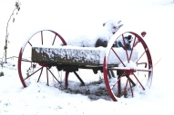 red wheels in snow this one